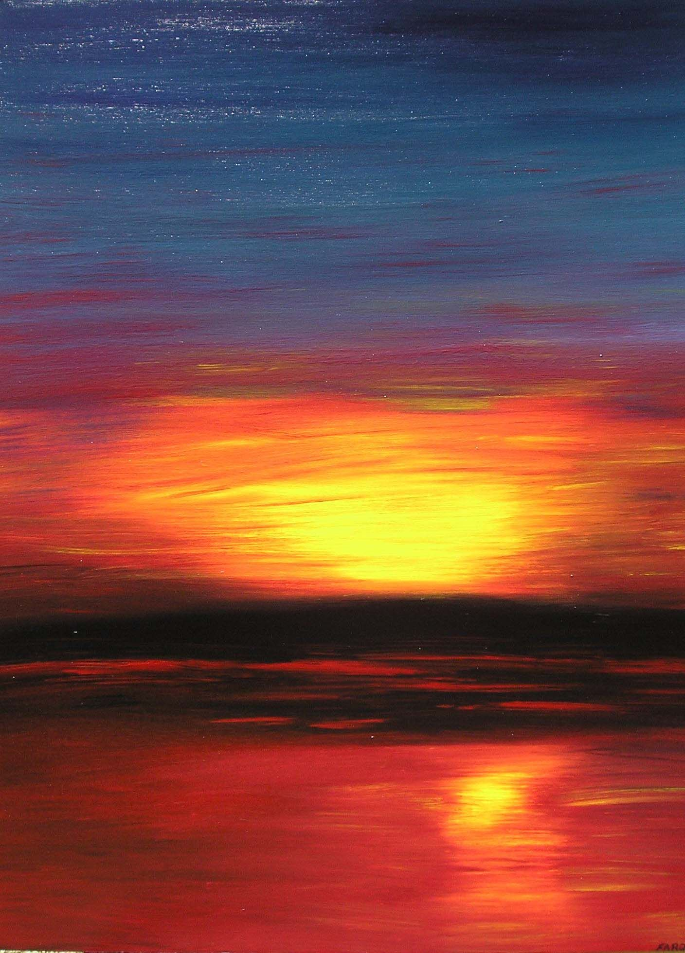 Realistic Abstract Sand Dune Desert Sunset Large Oil Painting Canvas Original Red Yellow Art