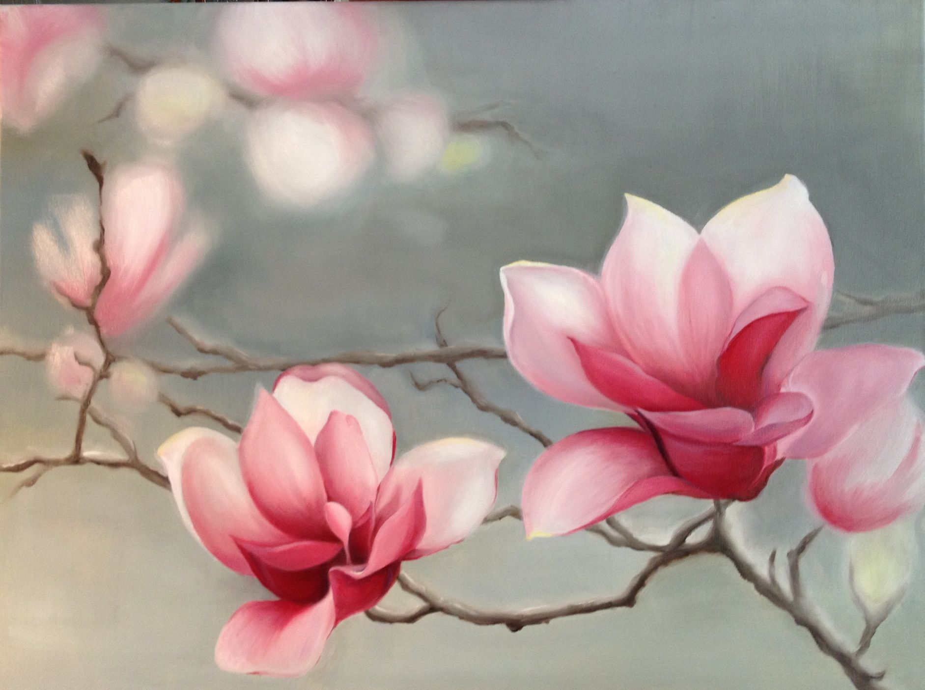 Pink Magnolias Oil Painting By Me Watercolor Flowers Oil Painting Flowers Floral Painting