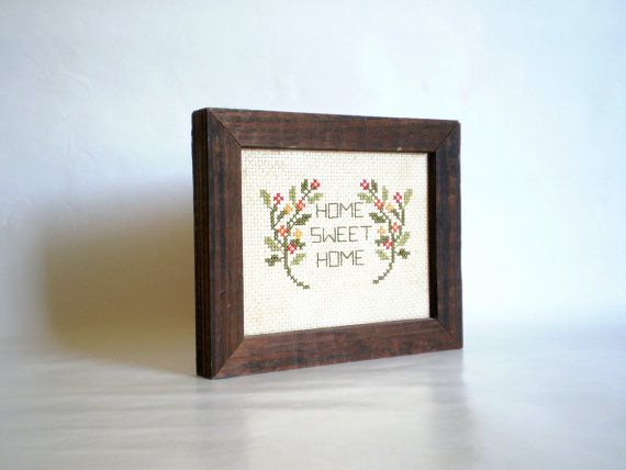 vintage kitchen decor Home Sweet Home cross stitch framed by VeraseraVintage