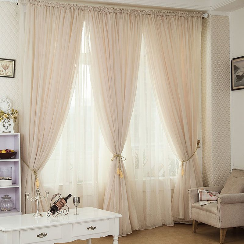 Inexpensive Kitchen Curtain Ideas: Champagne Color Pinch Pleated Drapes Rod Pocket Voile