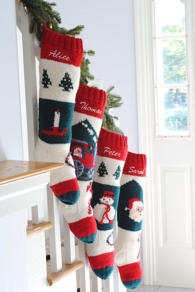 Bernat Santa Hand Knit Personalized Christmas Stocking Christmas