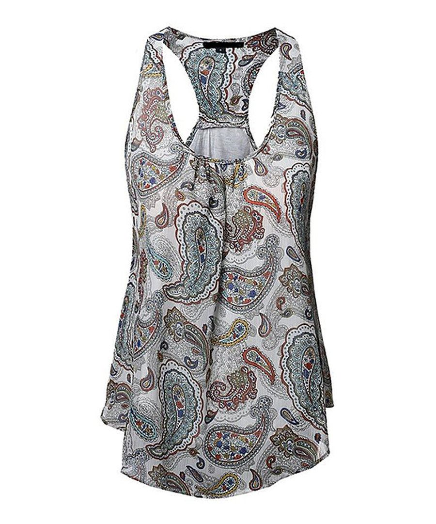 76390eba153 Look at this Gray Paisley Tulip Racerback Tank - Plus on  zulily today!