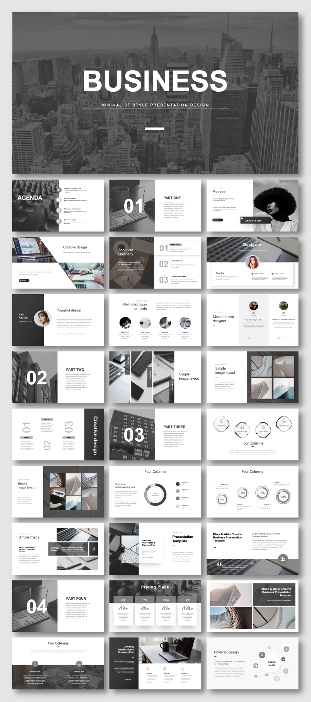 Black & White Useful Business Plan PowerPoint Template – Original and high quality PowerPoint Templates download