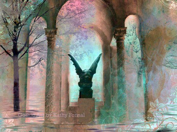 "Gothic Photography - Surreal Fantasy Art -  Dreamy Sea Green Gothic Gargoyle - Nature Fine Art Photographic Print 6"" x 8"". $20.00, via Etsy."
