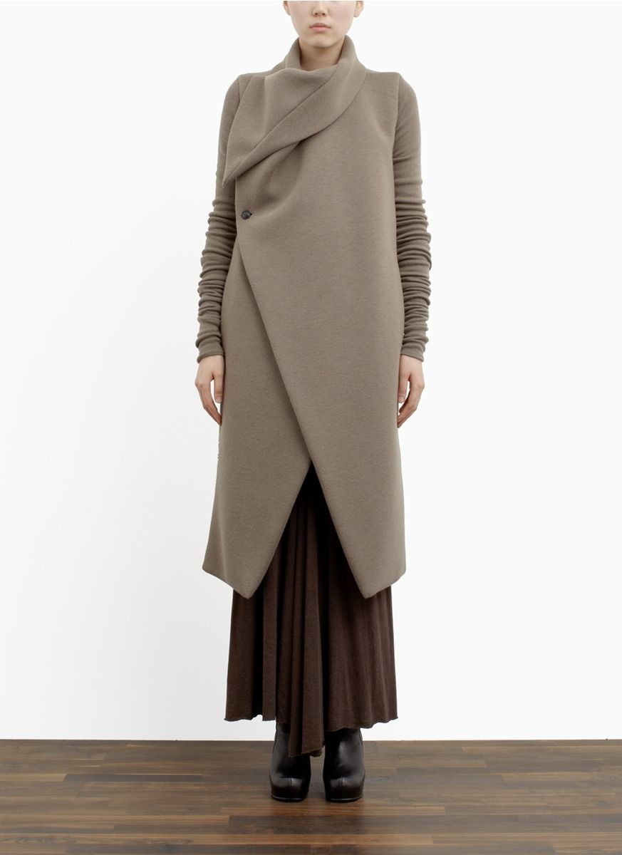 RICK OWENS LILIES - Padded collar wool-blend coat. - on SALE | Neutral