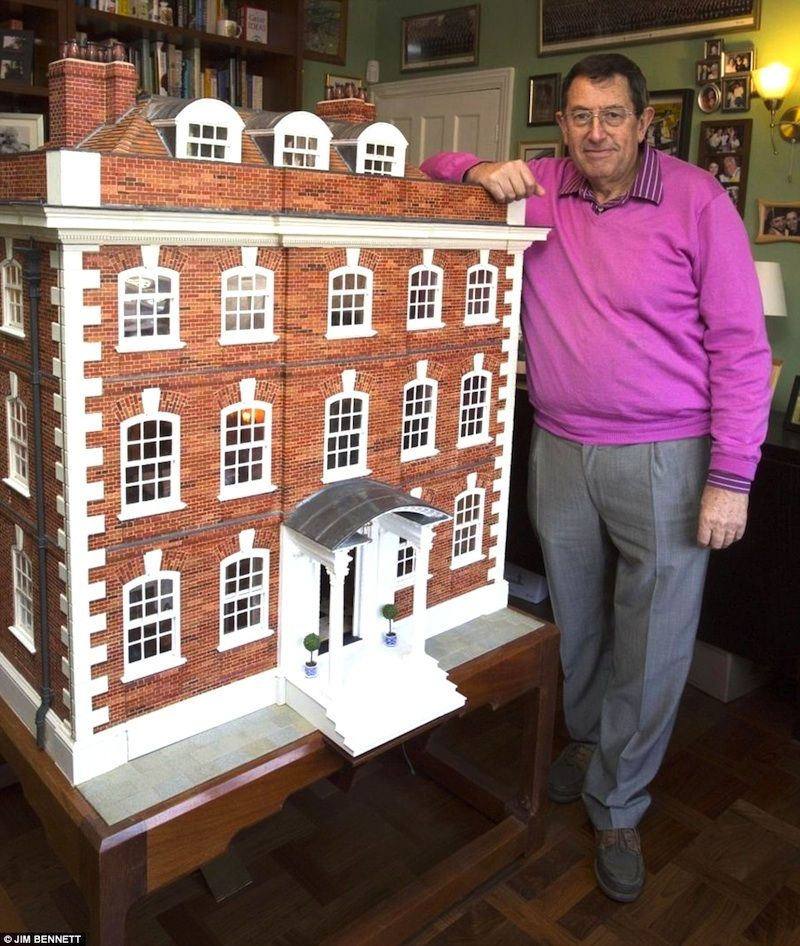 Rainman Hall - Geoffrey Walkley spent 35 years building this mammoth Queen Anne dollhouse. It has 13 rooms, working lights, smoking chimneys. The dollhouse is based on the 18th century Rainham Hall, which took 2 years to build. A remote controls the individually wired light switches, six of the 14 chimneys are linked to a smoke generator, both front and back doors have a doorbell, while in a modern twist, the home includes an iPad Nano which powers the speaker in the music room.