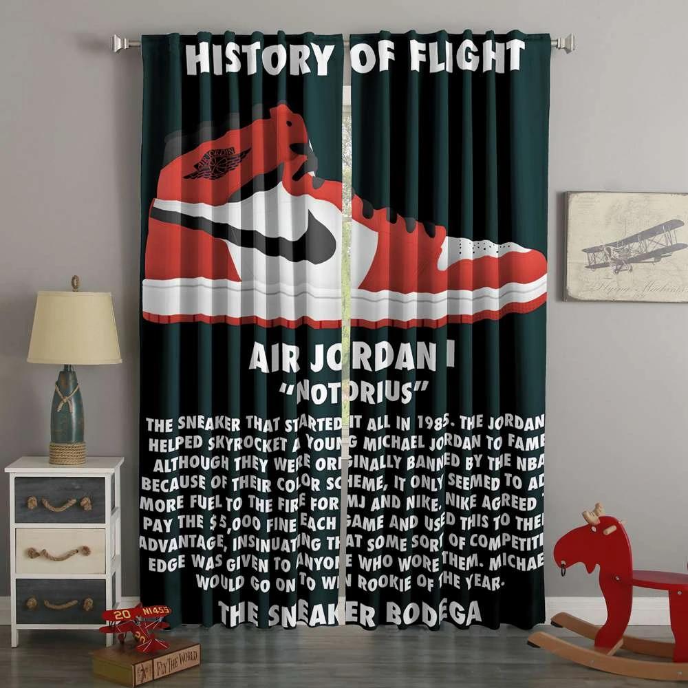 3d Printed Jordan Shoes Custom Living Room Curtain Westbedding