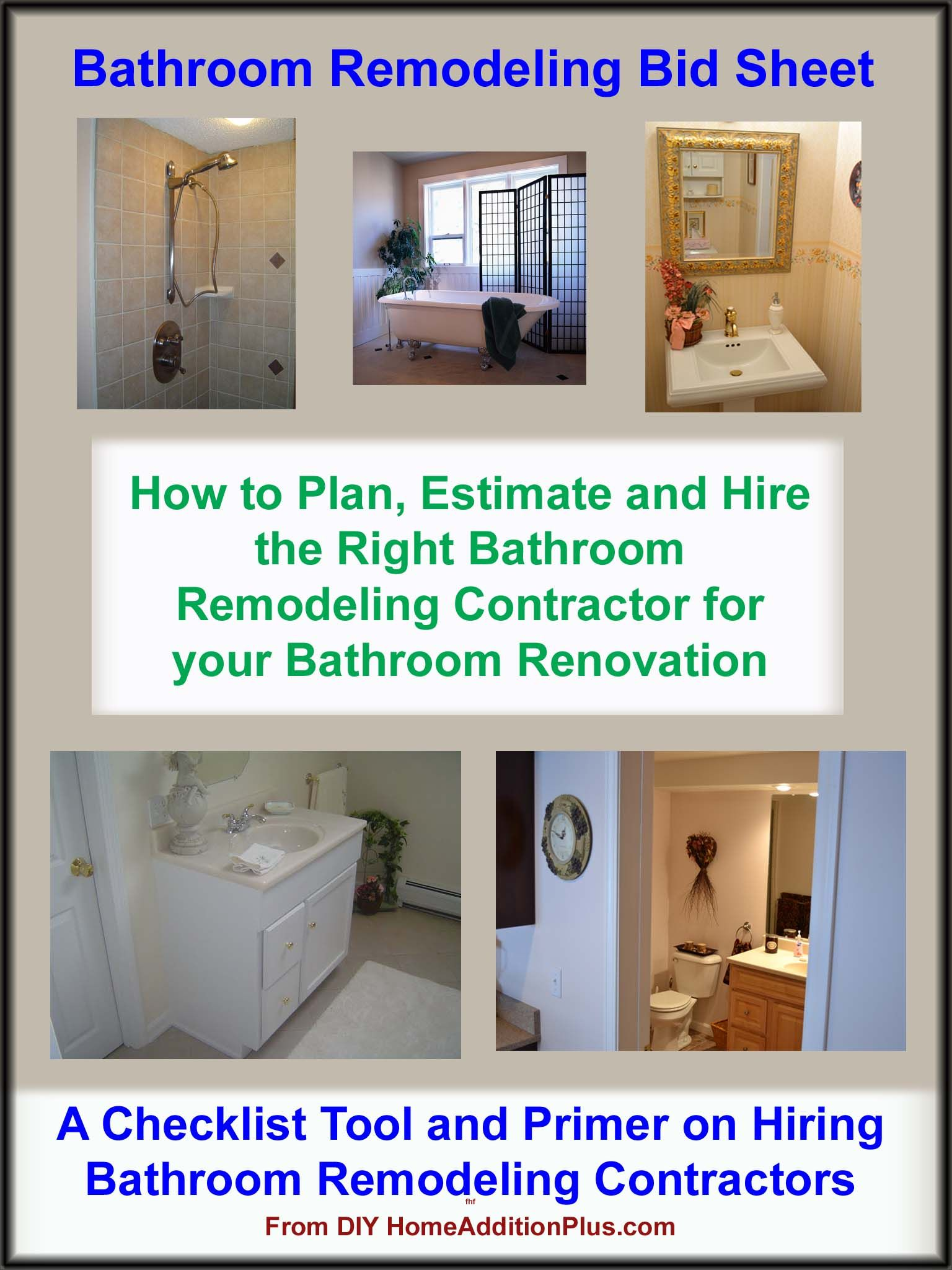 Here Is A Bathroom Remodeling Bid Sheet For Helping Homeowners