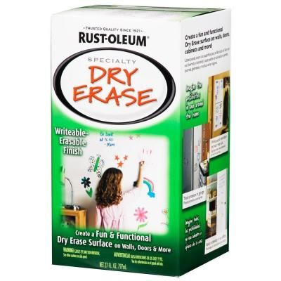 Dry Erase Paint Rust Oleum Specialty 27 Oz Gloss White Dry Erase Kit 241140 At The Home Depot Dry Erase Paint Dry Erase Wall Dry Erase
