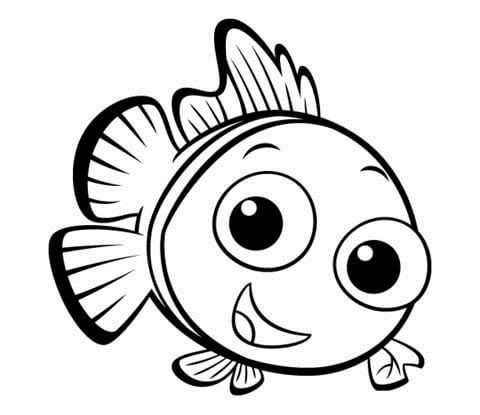 Small Fish With Funny Face Coloring Pages For Kids Chj Printable Fish Coloring Pages For Nemo Coloring Pages Finding Nemo Coloring Pages Fish Coloring Page