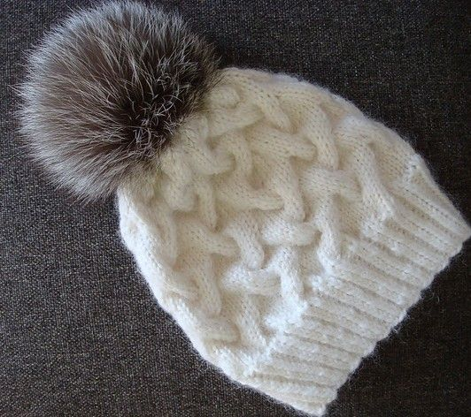 Free knitting pattern for Winter Cable Hat with Pompom   Yarn ...