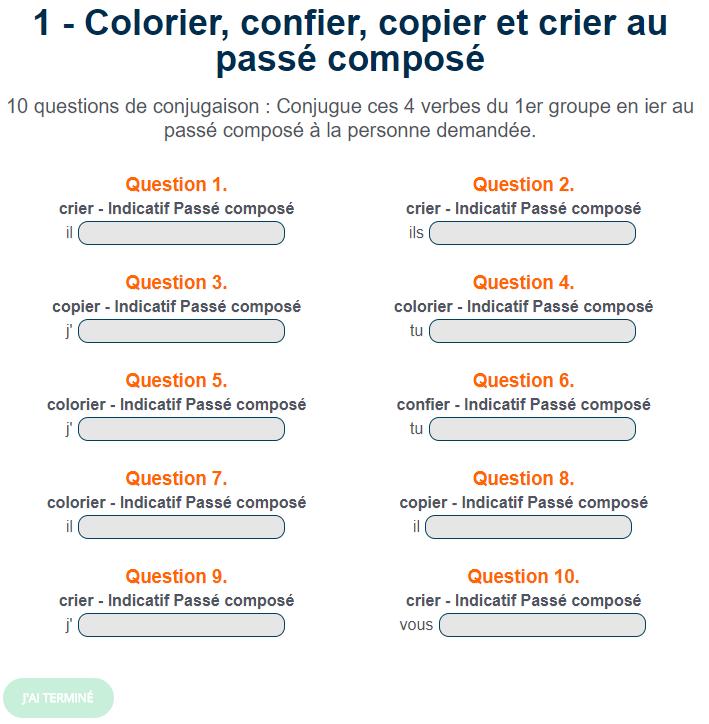 Exercice De Conjugaison Colorier Confier Copier Et Crier Au Passe Compose Passe Compose Exercice Verbe Verbe