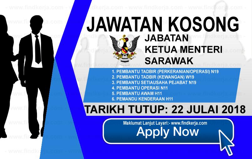 Jawatan Kosong Jabatan Ketua Menteri Sarawak 22 Julai 2018 Applications Are Invited To Qualified Malaysian Citizens To Fill The Follow Sarawak Boarding Pass