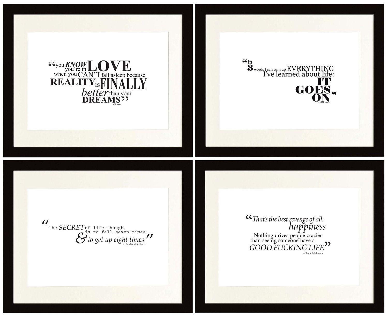 4x Black & White Typography Posters - SPECIAL OFFER - Inspirational Quotes - A4 / 11.7 x 8.3 inches. £20,00, via Etsy.