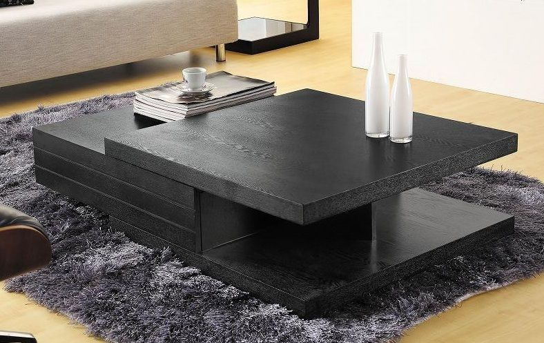 Contemporary Black Multi Layered Coffee Table Modern Square Coffee Table Center Table Living Room Accent Tables