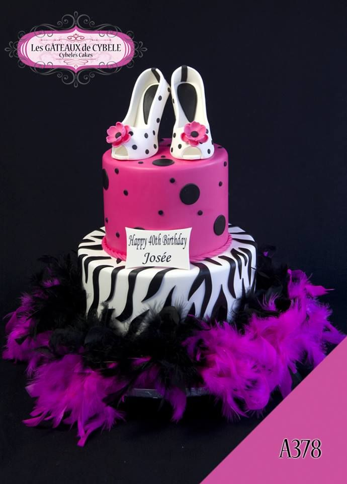 Fun and sassy zebra print cake from Cybele's Cakes