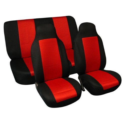 FH FB102112 Classic Cloth Car Seat Covers Red Black Color Group
