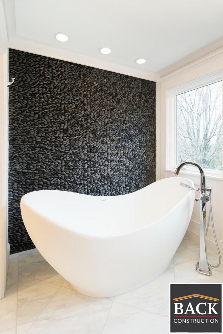 soaking tub, accent wall, stone, bathtub, master bathroom | BACK\'s ...