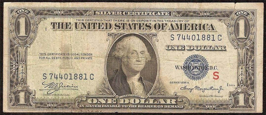 Just Listed 1935 A 1 Dollar Bill Red S Experimental Note Silver