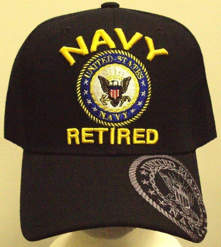 NAVY NAVAL USN RETIRED INSIGNIA LOGO EMBLEM CAP HAT OS LICENSED EMBROIDERED U.S