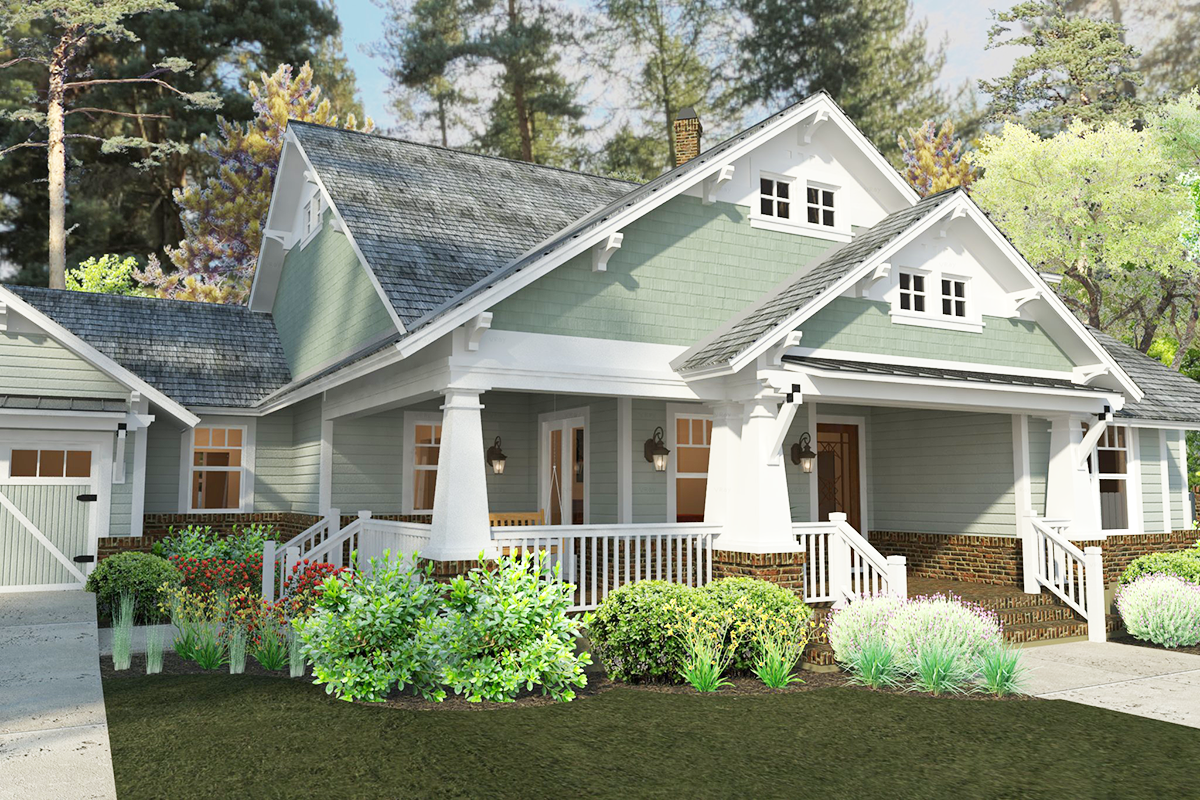 Plan 16887wg 3 bedroom house plan with swing porch for Craftsman home plans with porch