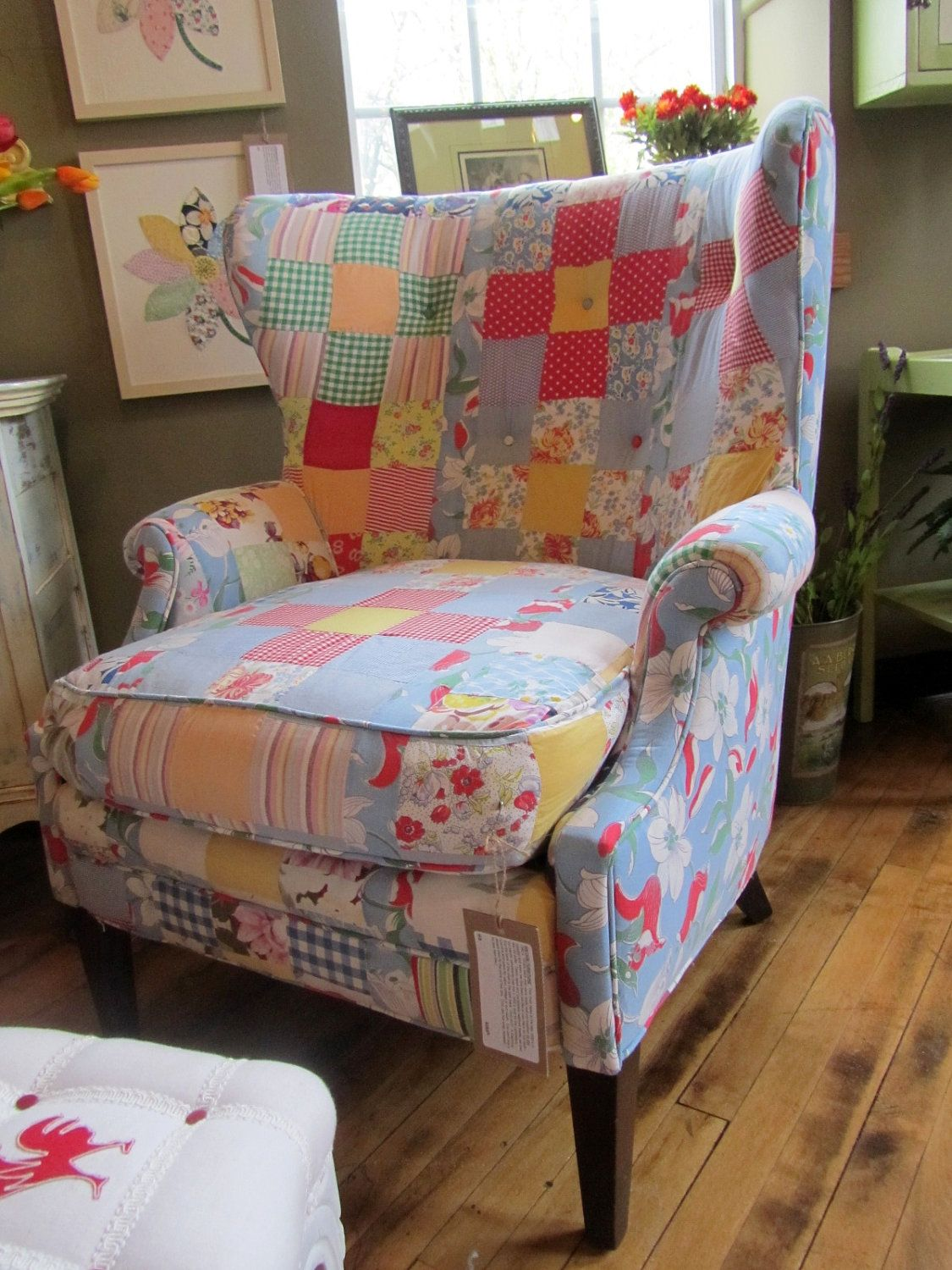 Reupholstered Vintage Quilt Chair 750 00 Via Etsy