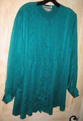 Plus Size Diane Von Furstenberg Blouse Shirt Flowy Silk Tuxedo Tunic 1X PLUS