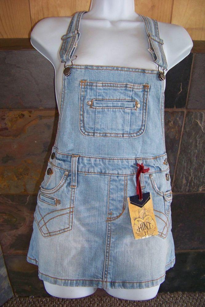 NWT Hint vintage like ageing denim skirtall overall skirt junior size 5  #hint #Miniskirtall