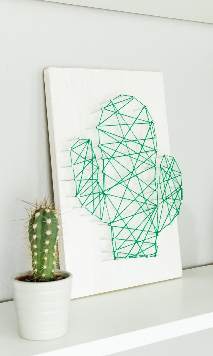 DIY cactus thread picture yourself - nice DIY decoration idea