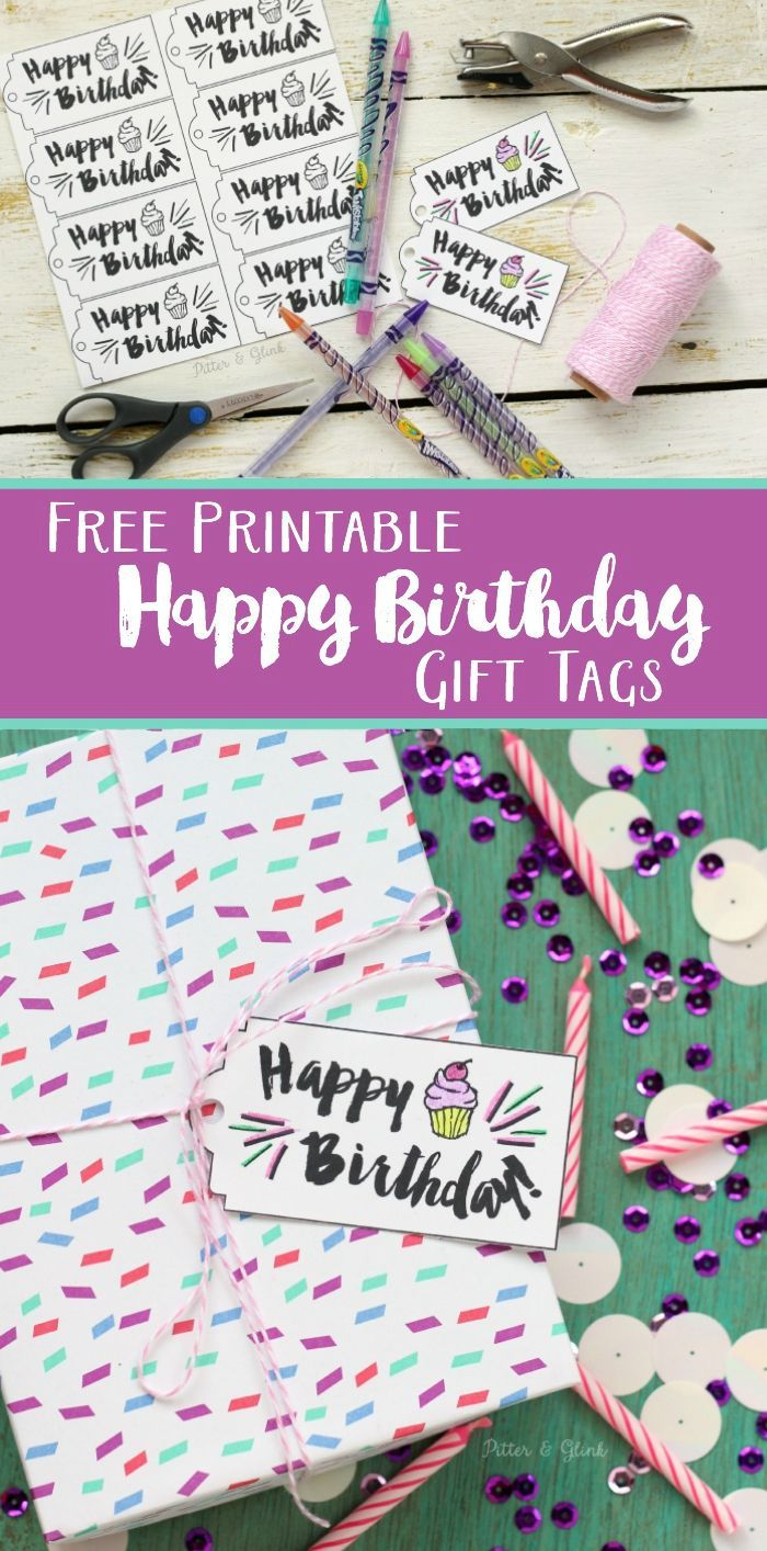 Free Printable Happy Birthday Gift Tags Download The Tag File