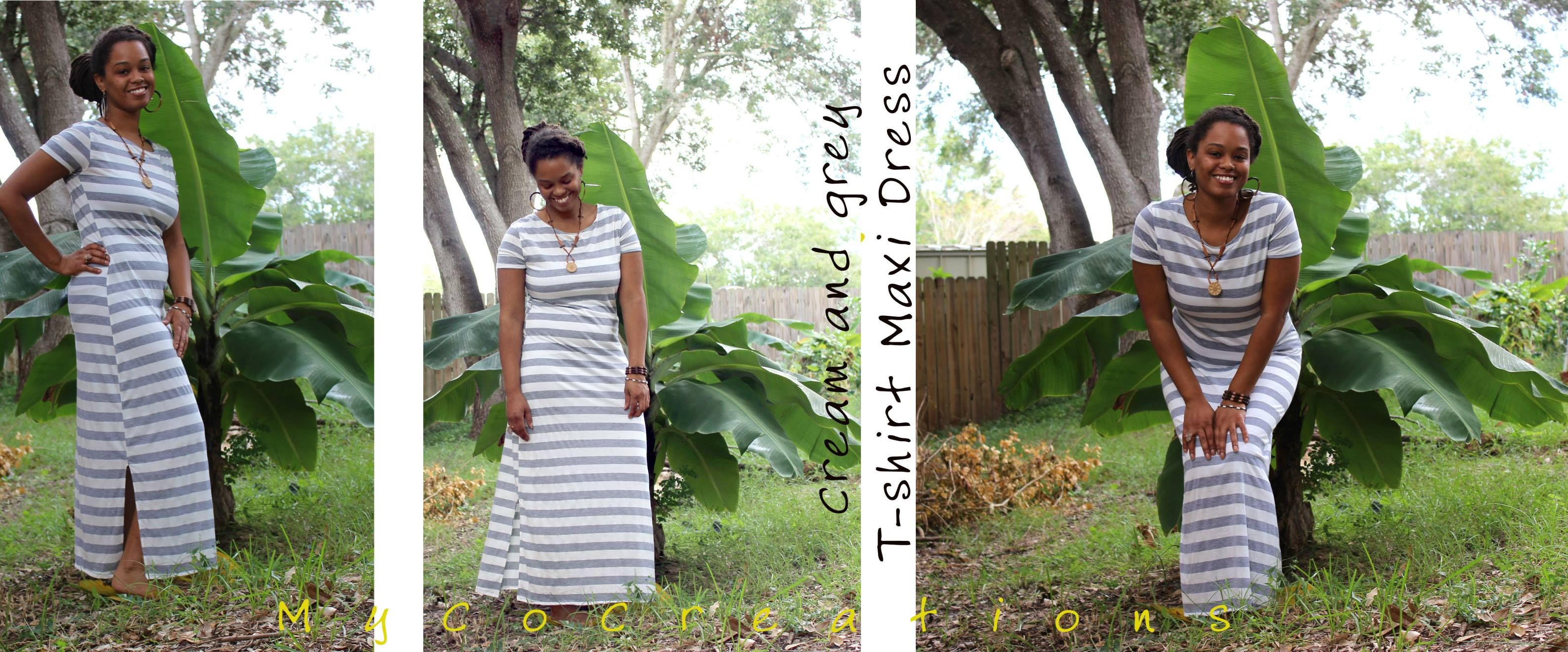 A cream and grey t-shirt maxi dress I made for myself.  #MyCoCreations