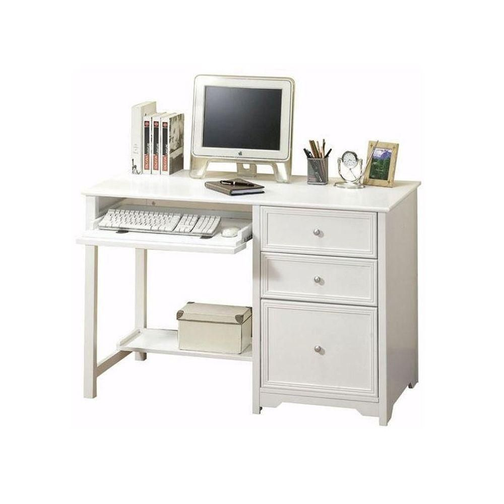 Home Decorators Collection Oxford White Desk 6769410410 The Home Depot Desk Shelves Computer Desk With Shelves Computer Desk Design