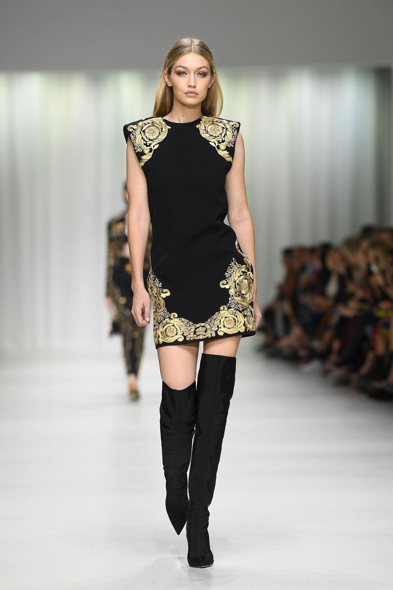 2f50cafaa Gigi Hadid walks the runway at the Versace show during Milan Fashion Week  Spring Summer 2018 on September 22