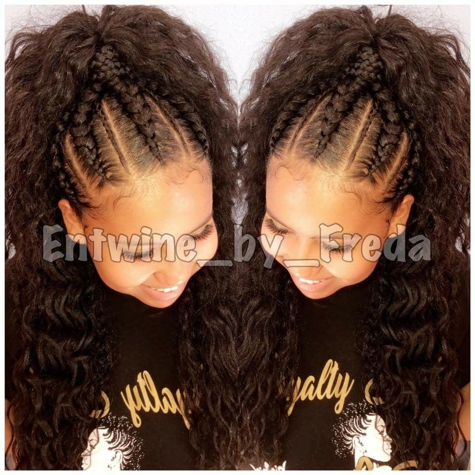 Feed In Breads With Ponytail Entwine By Freda Feed In Braid Vacation Hairstyles Hair Inspiration