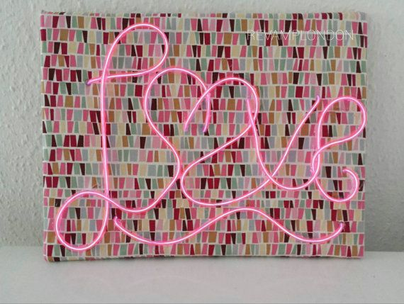 PINK love neon sign on geometric patterned frame 30cm x 40cm