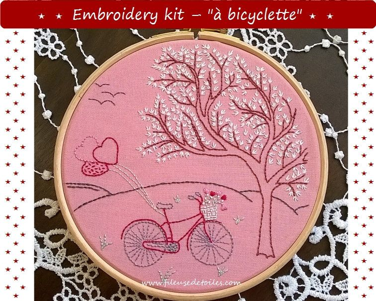 "kit de broderie traditionnelle - ""à bicyclette"" -  kit de broderie main by Fileusedetoiles on Etsy"