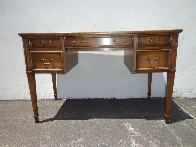 Sligh Lowery Leather Top Writing Desk Vintage Regency Mid Century Modern French Writing Desk