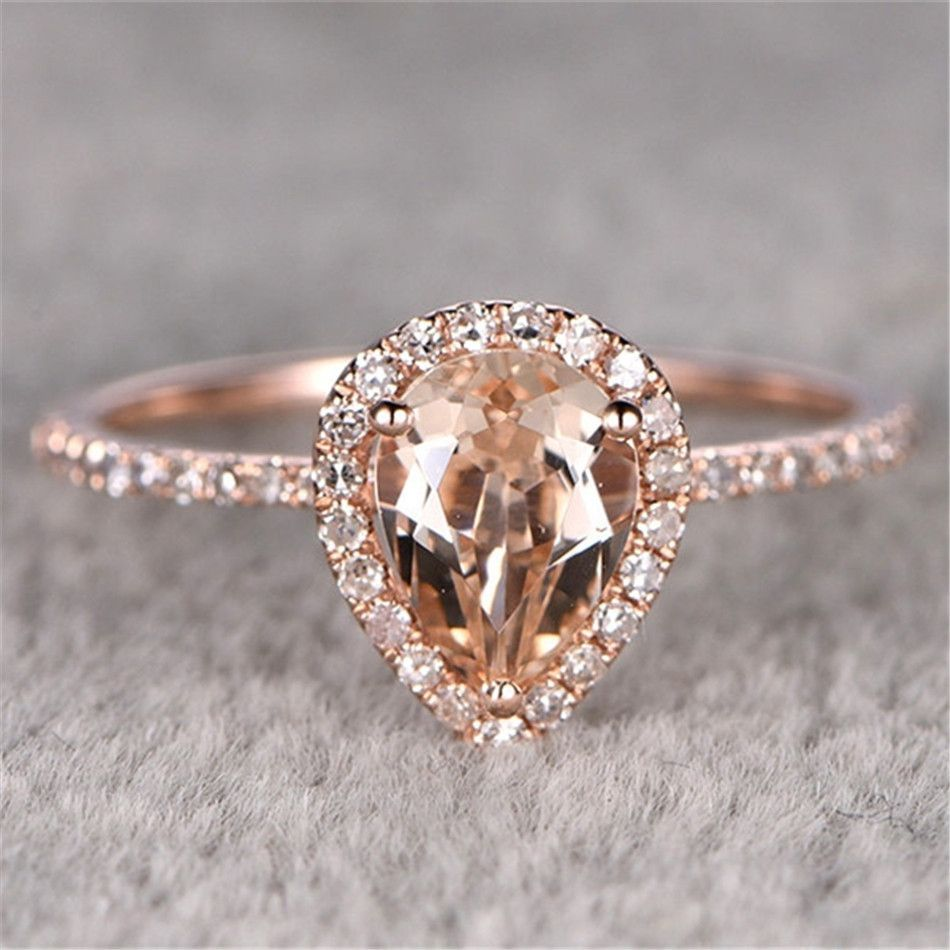 Ring · Pave Accents Halo 12ct Natural Morganite Gemstone Ring Pear Cut  Natural Morganite 10k Rose Gold
