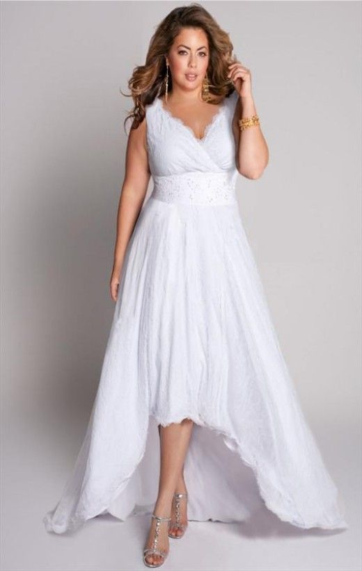 Modern Plus Size Wedding Dresses High And Low Informal
