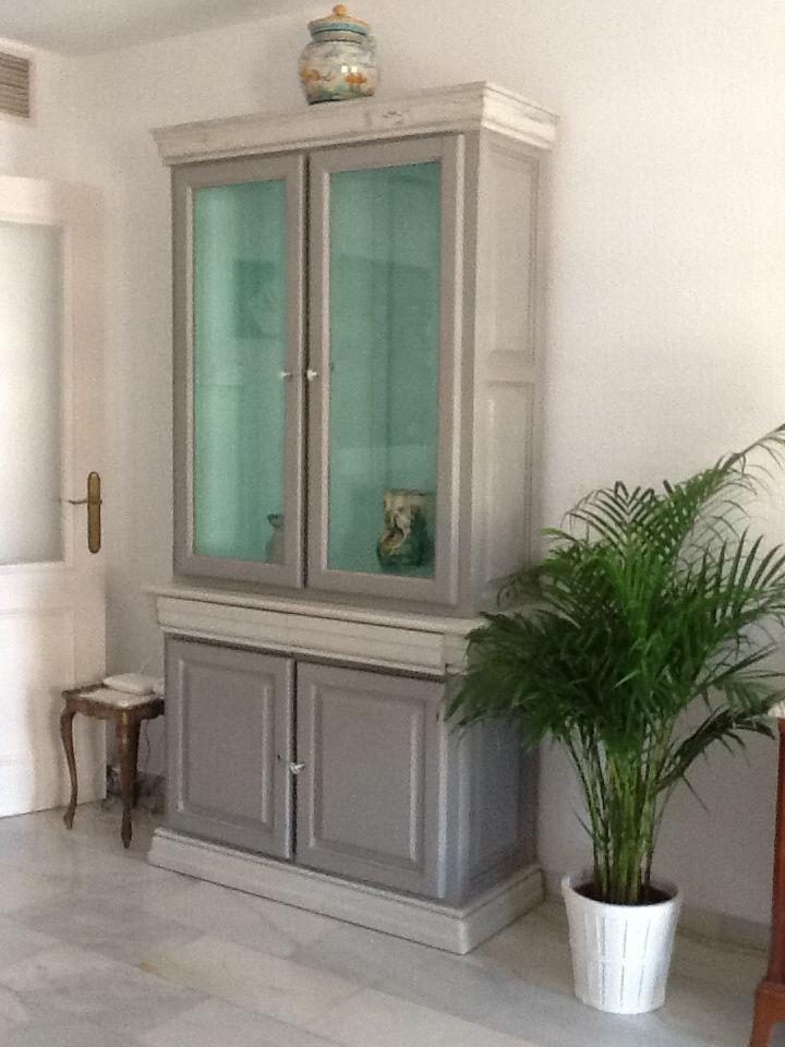 Mueble gris y azul buscar con google pintura a la tiza for Muebles antiguos las palmas