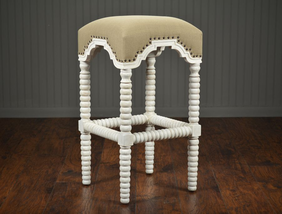 Cool Whitewashed Hand Carved Barley Twist Bar Stool With Burlap Beatyapartments Chair Design Images Beatyapartmentscom
