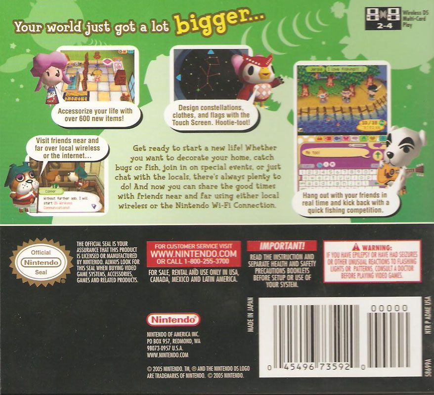 Animal Crossing Wild World Ds back of box Old video, 10