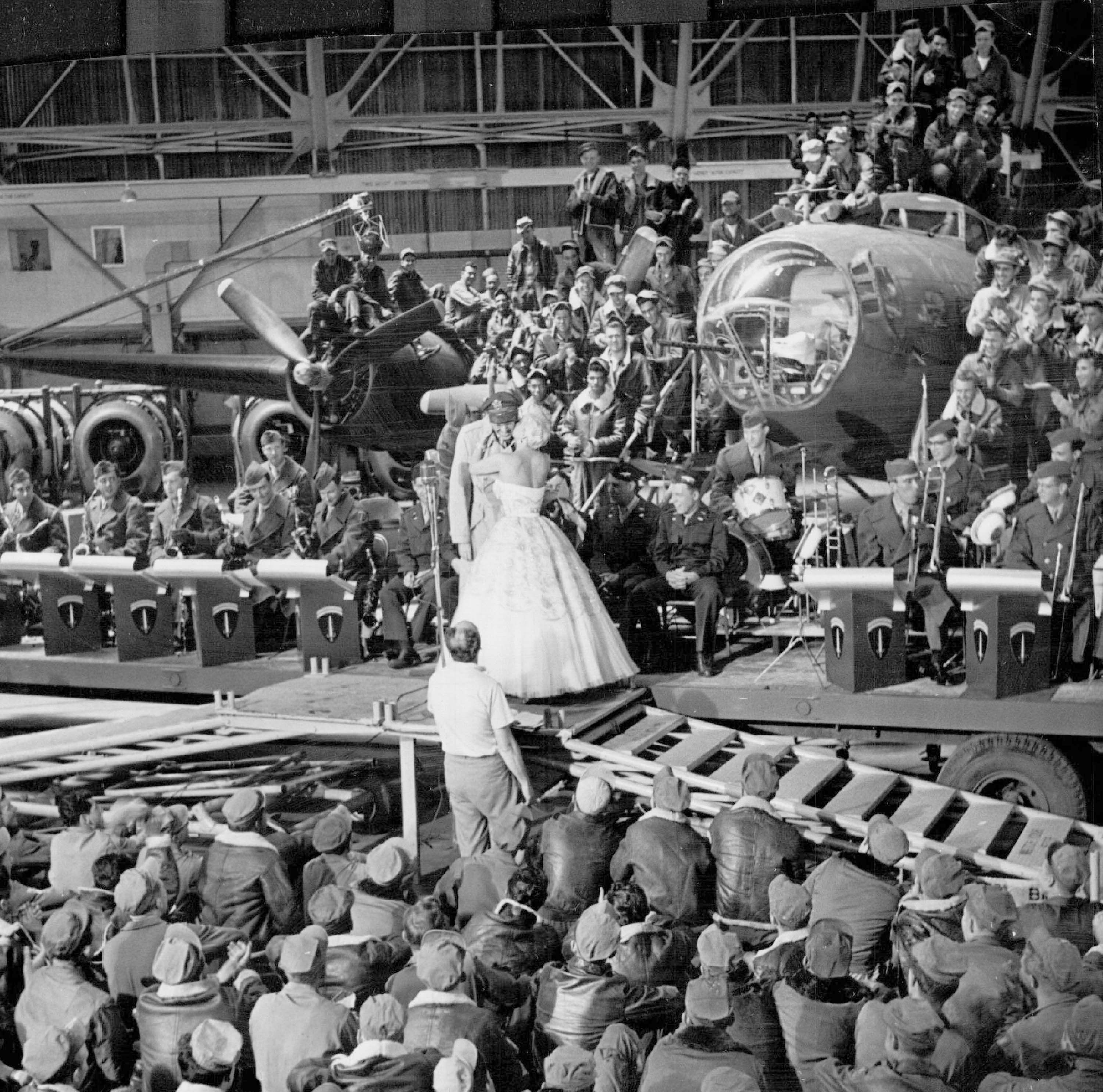 Moviemaking In Denver July 1953 When Frances Langford Kissed Jimmy Stewart During Rehearsal Of The Glenn Miller Story Airmen Perched On Wings Of The Comma