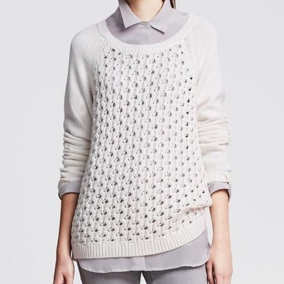 BR White perforated front white knit sweater m Vented hem, ribbed trim. Long sleeves, hits at hip. Banana Republic Sweaters Crew & Scoop Necks