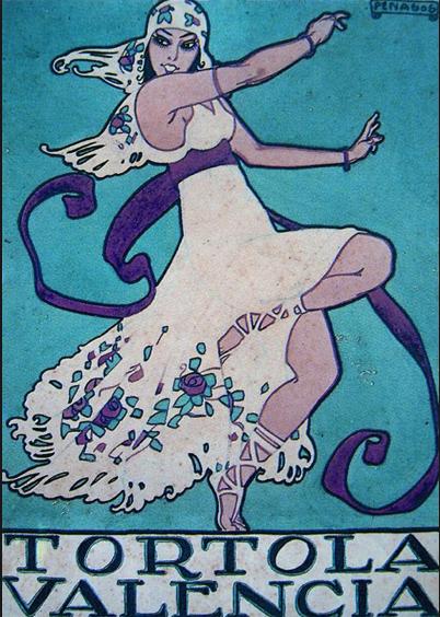 By Rafael de Penagos, Tortola Valencia. | Art deco illustration, Vintage  poster art, Dance poster