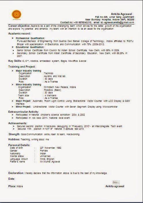resume format doc for hotel management