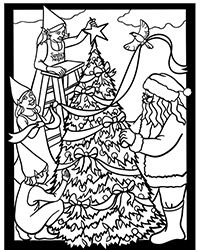 FREE Dover adult coloring page of Santa and his elves decorating a Christmas tree.