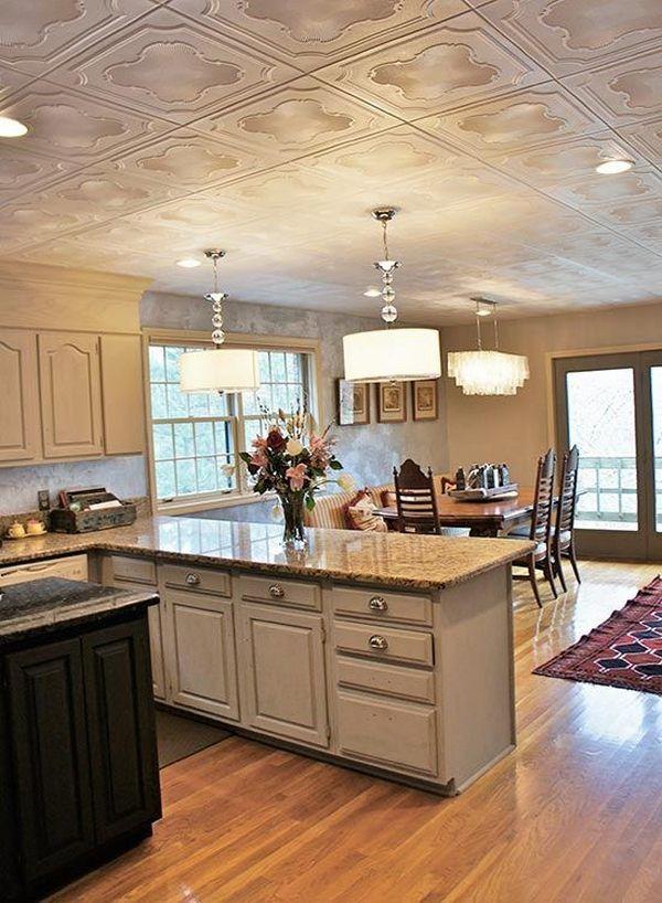 ornated styrofoam ceiling tile design modern apartment interior open floor plan - Kitchen Ceiling Tiles