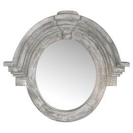 """Hand-carved salvaged wood wall mirror with crown moldings and a gray finish.  Product: Wall mirrorConstruction Material: Salvaged wood and mirrored glassColor: GreyFeatures:  Crown moldingsHand-carved Dimensions: 37"""" H x 41.5"""" W x 5"""" D"""