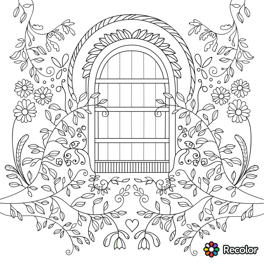Garden Gate Coloring Page For Adults Coloring Books Coloring